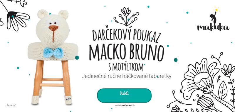 makuka - háčkovaná taburetka macko bruno s motylikom