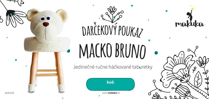 makuka - háčkovaná taburetka macko bruno