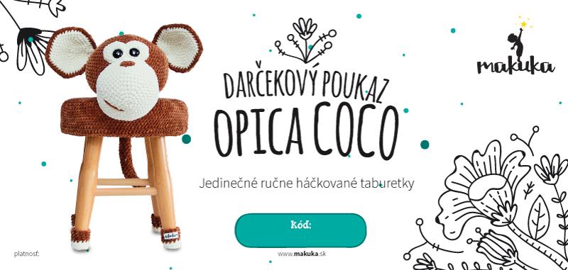 makuka - háčkovaná taburetka opica coco