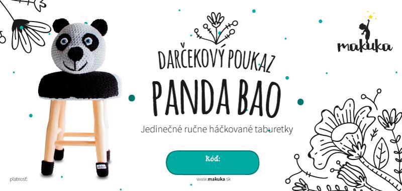 makuka - háčkovaná taburetka panda bao
